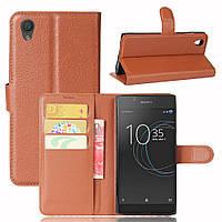 Чехол Sony Xperia L1 книжка кожа PU коричневый