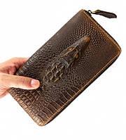 Стильный кожаный клатч портмоне Lacoste (коричневый кошелек)