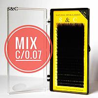 """Чёрные ресницы """"S&C Beauty"""", mix C/0.07, 20 линий 7-15 мм"""