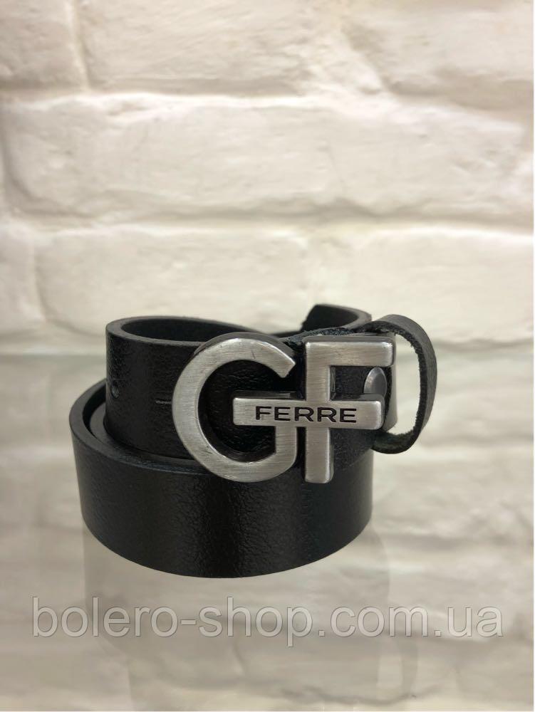Кожаный женский пояс ремень чёрный GF Ferre