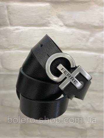 Кожаный женский пояс ремень чёрный GF Ferre, фото 2