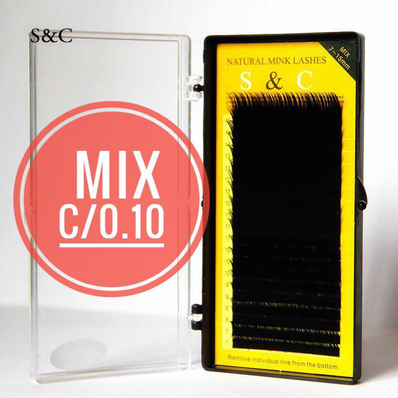 """Чёрные ресницы """"S&C Beauty"""", mix C/0.10, 20 линий 7-15 мм"""