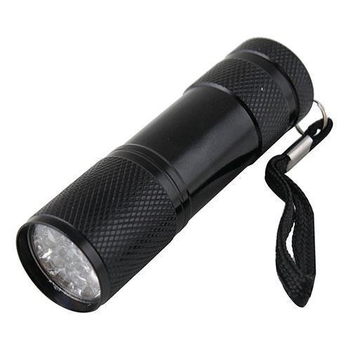 Алюминиевый ультрафиолетовый фонарик на 9 светодиодов