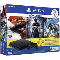 Игровая приставка SONY PlayStation 4 Slim 500 Gb Black(HZD+GOW3+UC4+PSPlus 3М)