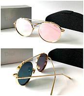 Женские круглые очки Dior зеркальная пудра