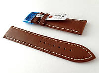 Ремешок Hightone, кожаный, анти-аллергенный, коричневый со строчкой, фото 1