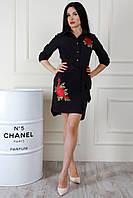 Асимметричное черное женское платье-рубашка