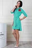 Асимметричное женское платье-рубашка мятного цвета