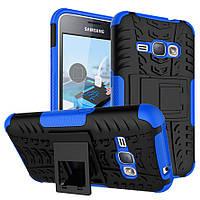 Чехол противоударный для Samsung J1 2015 / J100 бампер синий