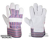 """Перчатки комбинированные из замши и ткани, цельная ладонь, 10,5"""" Mastertool 83-0702"""