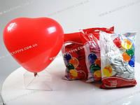 Шарики воздушные Сердце пастель красное 100 шт. п/э /50/(H80)