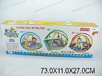 Детский коврик с погремушками на дуге, батар., музыка, в кор. 73х11х27 /12-2/(68002)