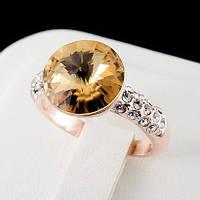 Роскошное кольцо с кристаллами Swarovski, покрытое слоями золота 0757