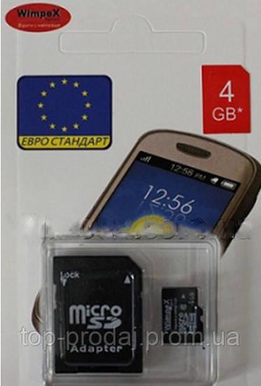 WIMPEX microCD 4 GB, Карта памяти microCD, Карта памяти с SD адаптером, Карта памяти для планшетов, смартфонов