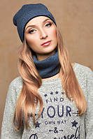 Комплект шарф+шапка Дина синий