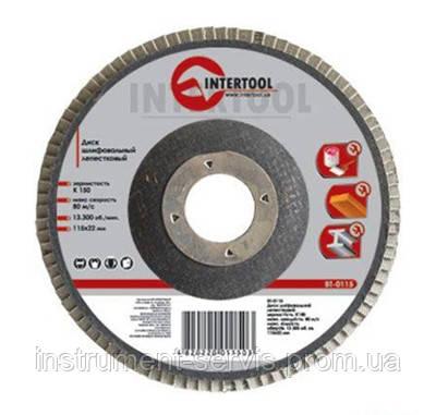 Круг шлифовальный лепестковый торцевой КЛТ 180х22 K120 (Intertool, BT-0232)