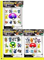 """Покемоны + покебол BT-PG-0008 """"Pokemon GO"""" 10 фигурок по 2"""", шар 7см 3в.лист ш.к./72/(BT-PG-0008)"""