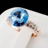 Чудесное кольцо с кристаллами Swarovski, покрытое слоями золота 0585