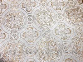 """Тканина церковна """"Візантія"""" ( комбі) біла з золотим шовком 1,65м"""