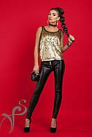 Кожаный узкие брюки Бэкки 16406 A