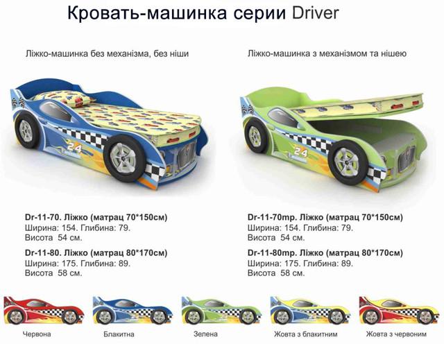 Кровать-машинка Driver (варианты цветов)