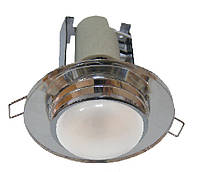 Светильник точечный под лампу R50 RG004 E14 CH+WH (бел. стекло)