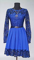 Платье подростковое комбинированное гипюром