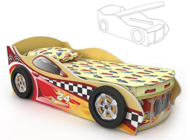 Кровать-машинка Dr-11-80mp Driver (желто-красная)