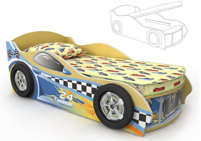 Кровать-машинка Dr-11-80mp Driver (желто-синяя)