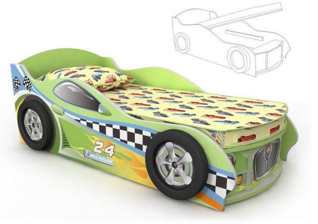 Кровать-машинка Dr-11-80mp Driver (салатовая)