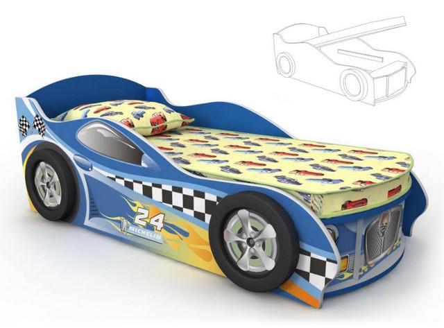 Кровать-машинка Dr-11-80mp Driver (синяя)