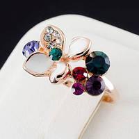 Блестящее кольцо с кристаллами Swarovski, покрытое слоями золота 0758