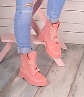 Ботинки резиновые на шнуровке розовые