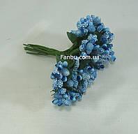 """""""Тычинки в сахаре"""" светло-синие, искусственных на розетке листьев (1 набор - 12 веточек ), фото 1"""