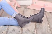 Ботинки резиновые на шнуровке серые