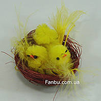 Пасхальный декор-3 цыплят в гнезде