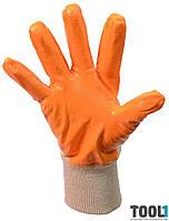 Перчатки х/б трикотаж, неполное нитриловое покрытие, вязаный манжет(желтые) MASTERTOOL 83-0405