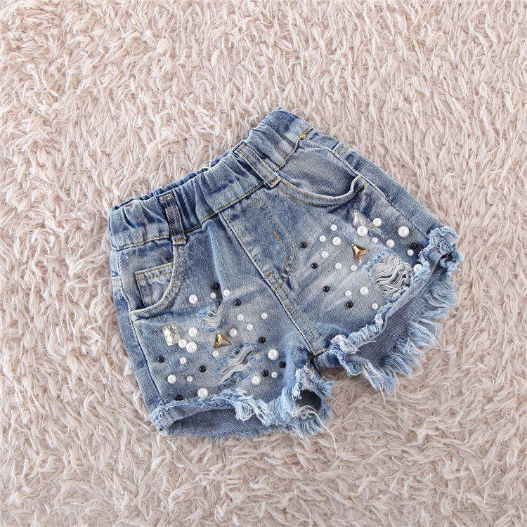 Джинсовые шорты для девочки с бусинами