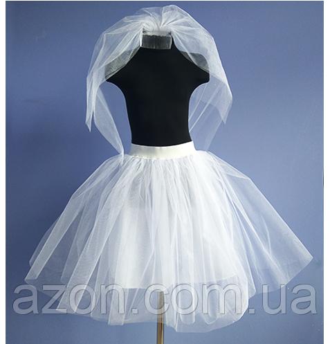 Набор на Девичник для невесты и подружек С двумя слоями фатина, 70 см, Белый, Гребешок