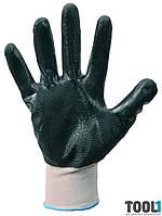 Перчатки трикотажные бесшовные с нитриловым покрытием ладони(бело-серые) MASTERTOOL 83-0400