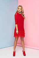 Женское нарядное платье с рюшами, красное, креп костюмный, размеры от 44 до 48