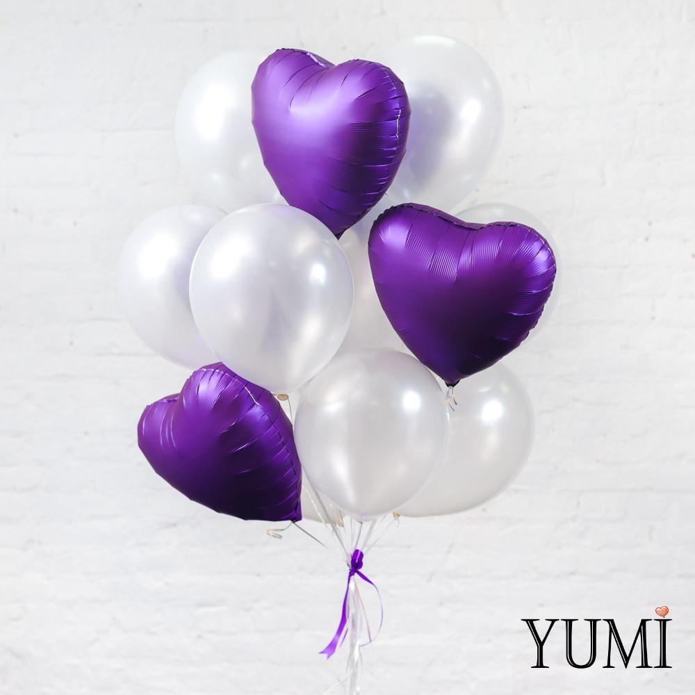 Красивая охапка воздушных шаров с гелием для девушек