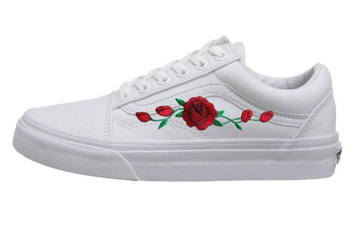 Женские кеды Vans Old Skool ROSES TRUE WHITE (Реплика ААА+)  продажа ... 4c5f2518b3cd8