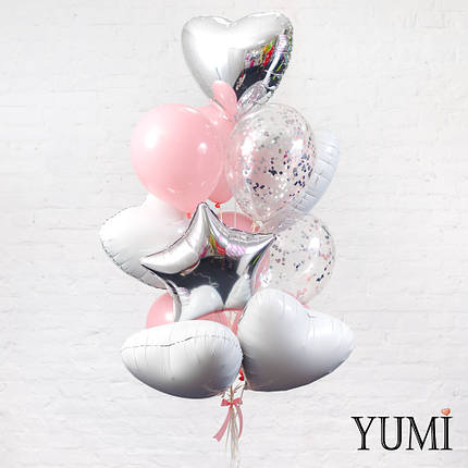 Красивая связка из 13 гелиевых шаров на подарок, фото 2
