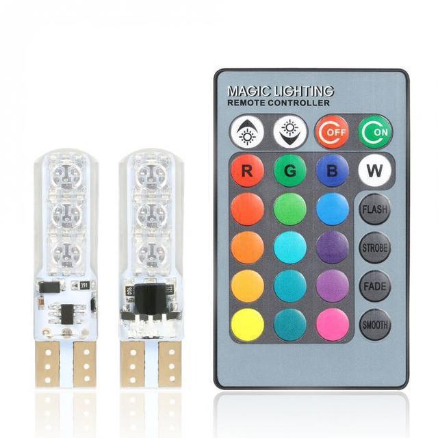 Лампа T10 6 SMD 5050 RGB в габариты с пультом