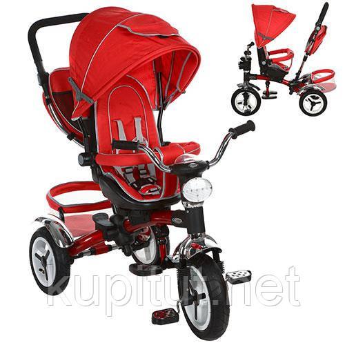 Детский трехколесный велосипед Turbo Trike M 3199-3HA, с фарой, красный