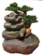 Фонтан САДОВЫЙ с деревьями и водяной домашний комнатный настольный мини 36*35 0340