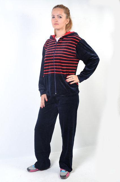 dba3aa1b Женский велюровый спортивный костюм с капюшоном - зебра (красные полосы ) -  Интернет-магазин