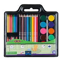 Набор для рисования, краски, карандаши цветные, мелки восковый, кисть натуральная, чинка, ZB.6400