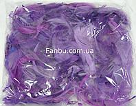 Декоративные сиреневые перья в пакете (1уп.120-130 перьев), фото 1